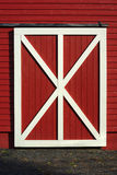 Red barn door white plank wooden pattern Royalty Free Stock Photography
