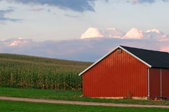 Red barn at dusk Stock Photography