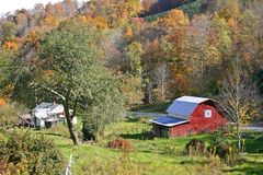 Red Barn in the Fall stock photos