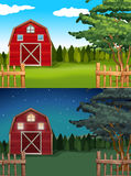Red barn in the farm at day and night Royalty Free Stock Photos