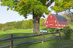 Red Barn on a farm. Stock Photo