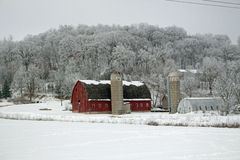 A Red Barn Farm Winter Landscape Royalty Free Stock Photos