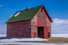 The red barn in the field. Stock Photos