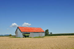 Red barn in the fields Royalty Free Stock Image
