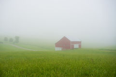 Red barn in fog. Red barn on a foggy morning Royalty Free Stock Photography