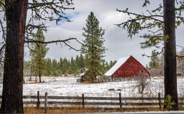 Red Barn in the forests Stock Photo