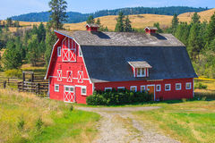 Red Barn with Grey Roof. Classic red barn with white trim on farm in rural Okanagan. b.c Stock Photos