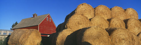 Red Barn and Haystacks, Idaho Falls Stock Photo