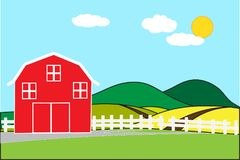 Red barn on a hill in the rural area of rice fields on a bright day and empty space for text. Background concept development for business cultivation and flat Stock Image