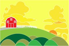 Red barn on a hill in the rural area of rice fields. Evening time and empty space for text. Royalty Free Stock Photography