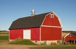 Red barn and horse shed. A red barn and horse shed on a Wisconsin farm in Autumn Stock Photos