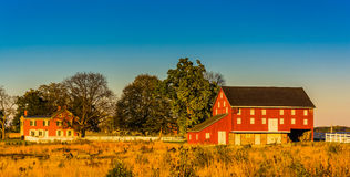 Red barn and house in Gettysburg, Pennsylvania. Red barn and house in Gettysburg, Pennsylvania Stock Photography