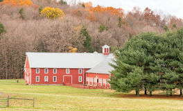 Red barn and late Fall color Stock Photo