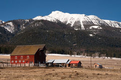 Red Barn Mountain Winter Wallowa National Forest Stock Photo