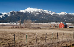 Red Barn Mountain Winter Wallowa Whitman Forest Stock Images