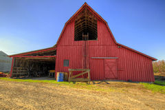 Red Barn in Oregon Farmland Stock Image
