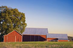 Red Barn and Pasture Stock Photo