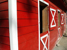 Red barn perspective Royalty Free Stock Photography