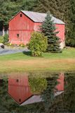 Red Barn Reflection royalty free stock photography