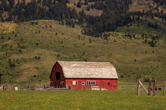 Red barn in rural Wyoming. Royalty Free Stock Photo
