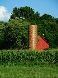 Red Barn and Silo. Next to corn field Stock Photos