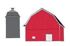 Red Barn & Silo Stock Image