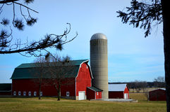 Red Barn with Silo royalty free stock photos