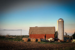 Red barn and silo Royalty Free Stock Images