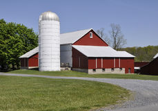 Red barn and silo in rural Pennsylvania. Red barn and a silo by a gravel road in eastern Pennsylvania.  There is a bright blue sky overhead and a green lawn Stock Photo