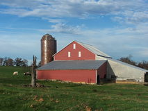 Red barn silo in Virginia countryside. Red barn in winter in Central Virginia with beautiful blue sky Stock Photos