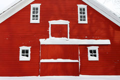 Red barn in snow Stock Photography