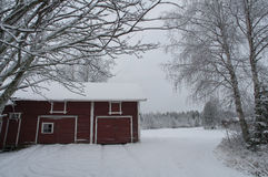 Red barn in snow Royalty Free Stock Image