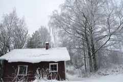 Red barn in snow Royalty Free Stock Images