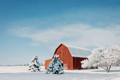Red Barn With Snow stock image