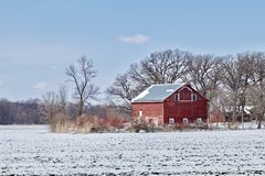 Red Barn in Snow stock photo