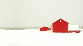 Red barn and snow storm Royalty Free Stock Photography