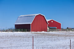 Red barn on snowy prairie. Royalty Free Stock Photo