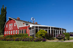 Red Barn with Solarium Stock Images
