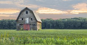 Red Barn under the Red Sky stock image