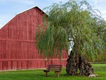 Red barn with vacant bench Royalty Free Stock Photo