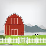 Red barn. Vector illustration of red old barn. Mountain landscape. Rakes and pitchforks, stairs. Grazing cow. Country side Royalty Free Stock Photo