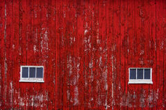 Red Barn Wall Siding with windows Royalty Free Stock Photography