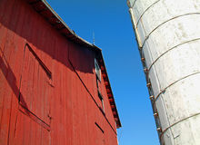 Red Barn and White Silo Stock Photography