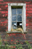 Red Barn Window. An old barn window with broken glass and hay Royalty Free Stock Photography