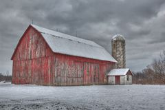 Red Barn in the winter Stock Images