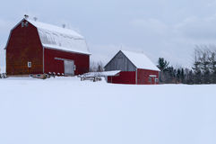 Red Barn in the winter Royalty Free Stock Photos