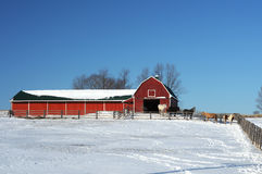 Red barn in winter setting Royalty Free Stock Photos