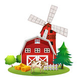 A red barnhouse at the farm Royalty Free Stock Images