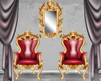 Red Baroque glamour armchair. Furniture with Victorian ornamented fabric. Vector realistic 3D designs Stock Images