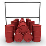 Red barrels with  billboard Stock Photos
